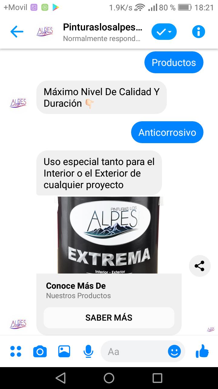 Facebook Chatbot Industria Los Alpes